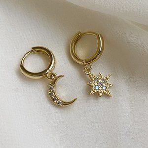Gold S925 Northern Star Moon Huggie Hoop Earrings
